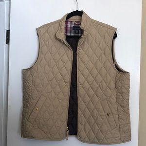 Lands End women's quilted beige vest